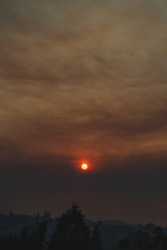 Ominous smoke-filled sunset during the fires.