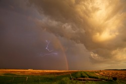 Ominous Storm Clouds Prairie Summer Rural Susnet Rainbow