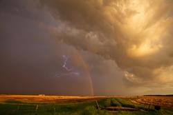 Ominous Storm Clouds Prairie Summer Rural Susnet Rainbow