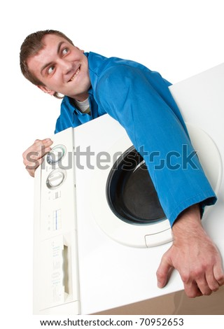 Ominous thief holding stolen washing machine. Isolated on white