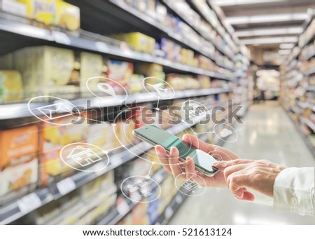Omni-channel marketing on mobile smartphone app for supermarket shopping people lifestyle