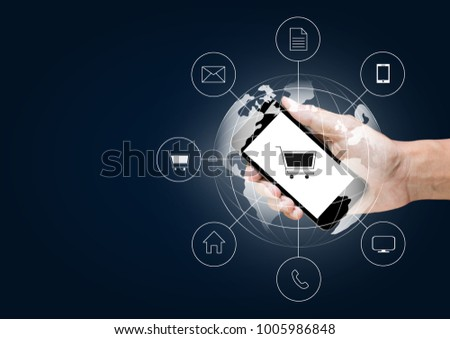Omni Channel or Multi Channel network Fast and easy trading and phone Illustration.