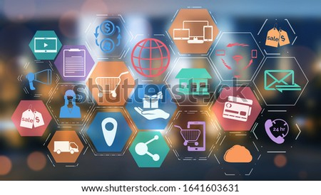 Omni channel technology of online retail business. Multichannel marketing on social media network platform offer service of internet payment channel, online retail shopping and omni digital app. Stock photo ©