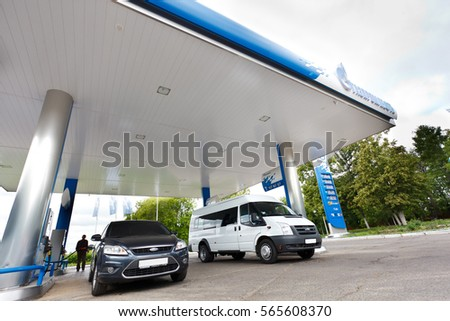 """OMSK, Russia July 6, 2010: Gas stations """"Gazpromneft"""". Design elements of corporate identity #565608370"""