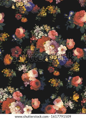 On a black background Gouache peony rose continuous pattern