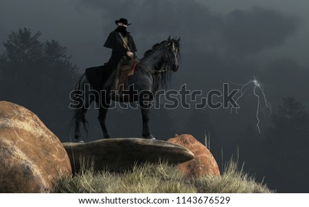 On a dark and stormy day, a dark man rides a dark horse. In one hand he holds his horse's reins, in the other, a rifle. A dark scarf obscures his face beneath his black hat. 3D Rendering