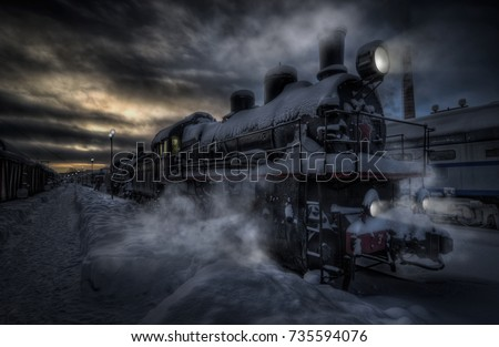 On a frosty winter evening an old locomotive from the past arrived at the station. Evening express from the past