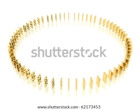 On a image  is shown golden dominoes which placed in a circle shape on a white background and mirror floor