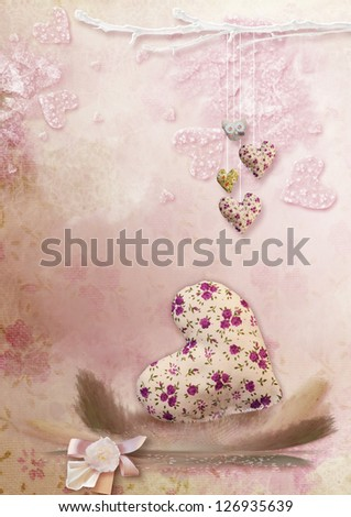 on a pink background with hearts one big heart with colored feathers