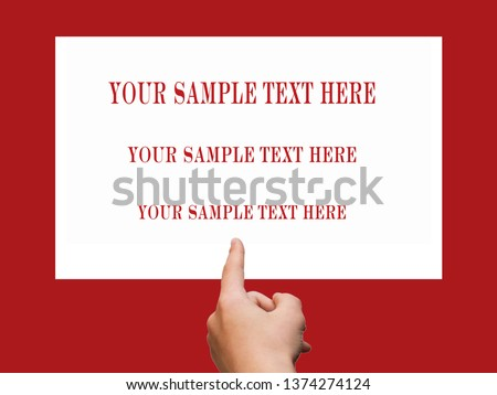 On a red background The index finger of a person's hand points to a white vertical sheet of paper with text.The basis for the text of the plates on the door of the store, office, ads, Search for....