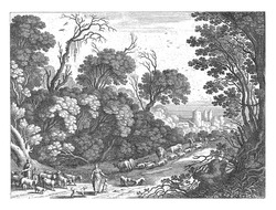 On a road in a forest a man and a woman with two children, some dogs and a herd of goats and sheep are walking. In the background two shepherds with a flock of sheep and cattle.