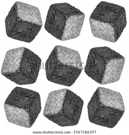 on a white background, nine papier-mâché cubes are positioned from different angles. original. Foto d'archivio ©