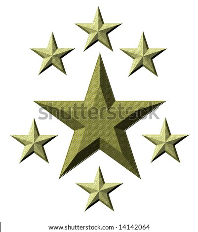 On a white background the large star and six small stars