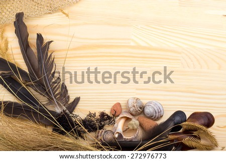 on a wooden surface feathers, stones, shells, grass, wild flowers, sea, fishing net