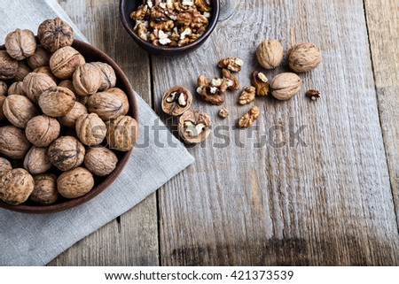 on a wooden table is a plate with walnut in thair shell, beside it are cracked nuts and shells. the plate is stnding on the linen napkin.