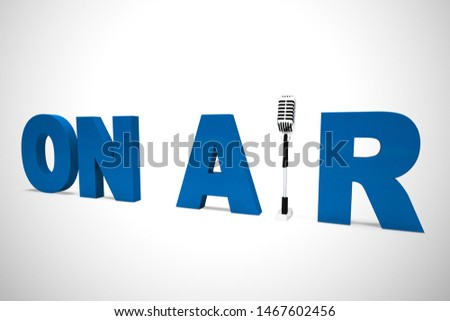 On air broadcasting means transmitting or telecasting programs. Reporting Live newscasts and bulletins - 3d illustration