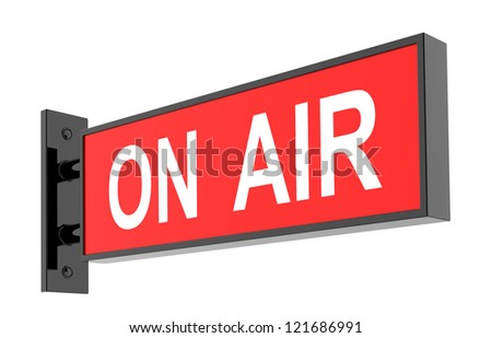 On Air Sign on White Background. 3d image.