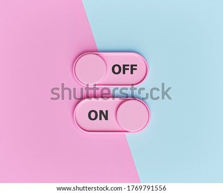 On and Off toggle switch buttons on pastel abstract background. minimal design. 3d rendering Stock photo ©