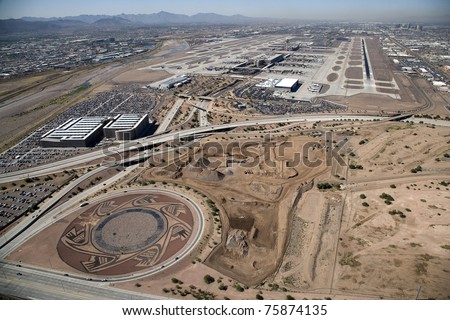 On approach to Sky Harbor International Airport, Phoenix, Arizona