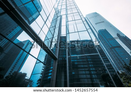 On April 14, 2018, in Hangzhou Qianjiang New Town Hi-tech Industrial Park, the modern commercial square building upward angle was photographed. #1452657554