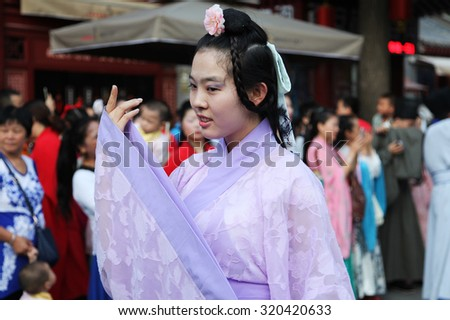 On August, 2015, 20, xian, China, wearing hanfu Oriental woman in the worship of the legendary vega, attracting tourists. The day is valentine\'s day in ancient China: Chinese valentine\'s day.