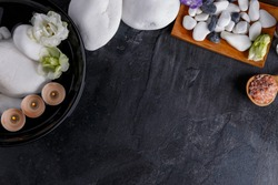 On background with a place for the inscription, the materials for aromatherapy and spa treatment.
