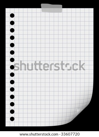 on black blank white paper page in square background
