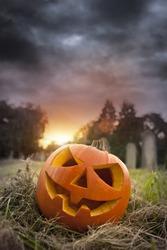 On Hallows Eve - Jack-O-Lantern on Halloween evening