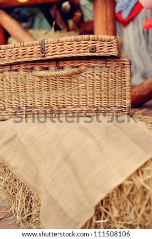 on hay covered the wattled basket costs a linen fabric brown