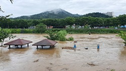 On July 29, 2020 The heavy rain caused the Jeonju stream to overflow in Jeonju, South Korea.