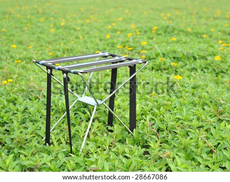 On lawn green chair