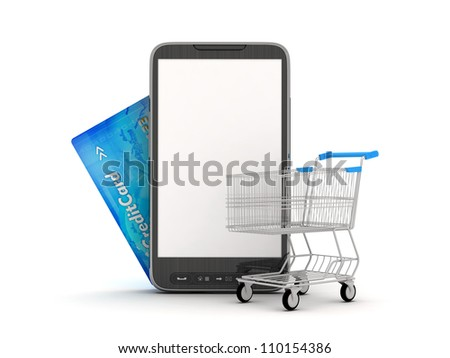 On-line Shopping by mobile phone - concept illustration