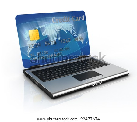 on line shopping 3d concept - credit card laptop