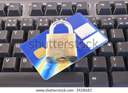 On-line shopping showing a credit card, computer keyboard and padlock