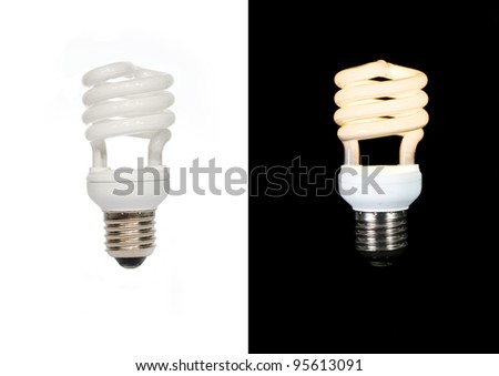 On/Off eco lamp on white and black background