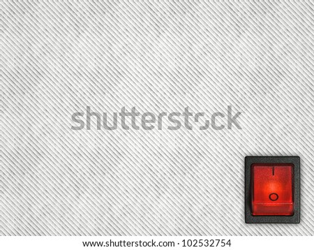 On-off red switch button on white striped background