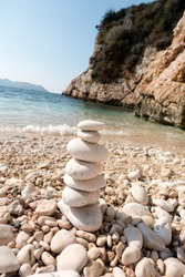 On pebble beach white pebbles in a row composition made of turquoise color in the background Sea prayer wonderful panoramic landscapes Detail Macro shot abstract pastel natural background images empty