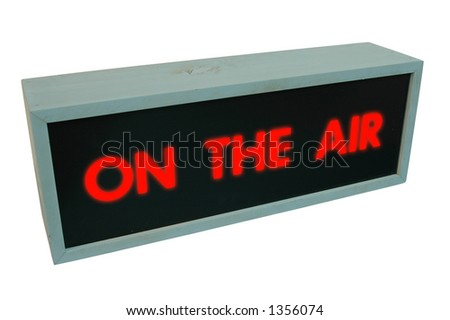 """On the air sign - wooden box with the words """"On the air"""" on it - isolated with clipping path"""