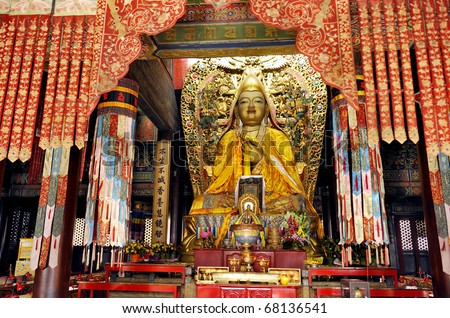 On the altar is Tsongkhapa in the Lama Temple of Beijing, China