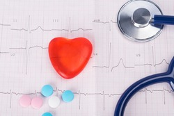 on the background of a cardiogram, artificial heart, phonendoscope and multi-colored pills, close-up