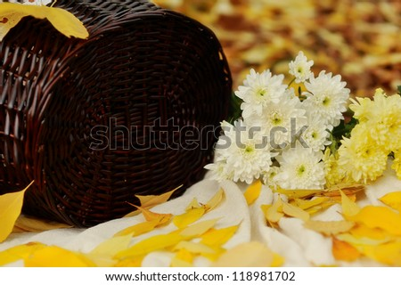 on the background of leaves is woven basket and bouquet of autumn flowers