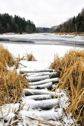 On the Bank of the river bridge made of logs for the fisherman. The water in the river turned to ice, and in the middle of the sagebrush. In the forest, on the Bank of a frozen river, there are planks