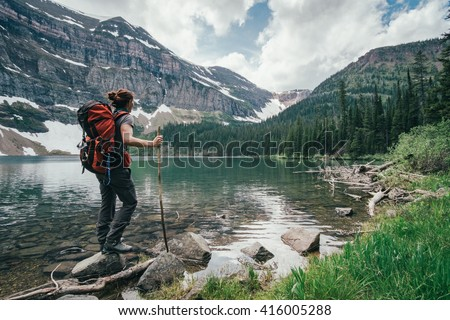 On the banks of the Wall Lake, Alberta, Canada