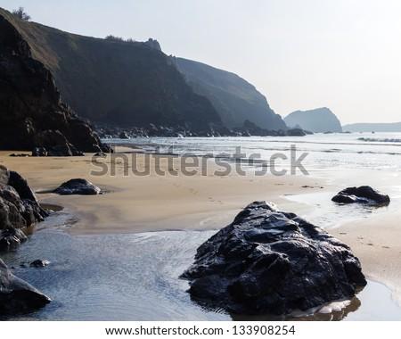 On the beach at Polurrian Cove Mullion Cornwall England UK