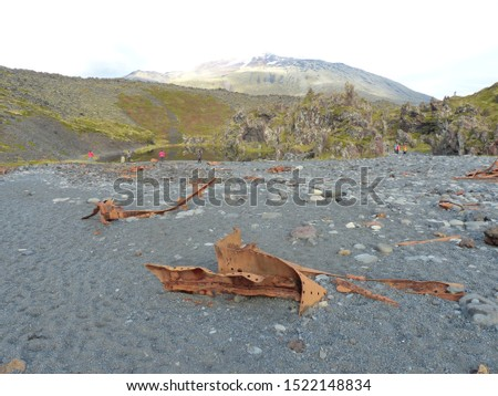 On the beach of Dritvik lie many debris of a British fishing trawler, which stranded here in March 1948.