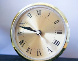on the clock with Roman numerals, ten minutes to ten. new year new day new life concept. copy space