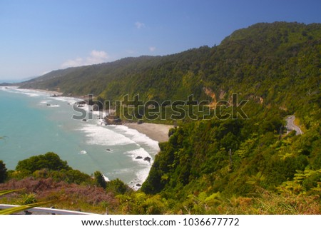 on the coast of the West Coast region on the South Island of New Zealand on the Tasman Sea #1036677772