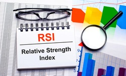 On the desktop are glasses, a magnifying glass, color charts and a white notebook with the text RSI Relative Strength Index. Business concept. View from above