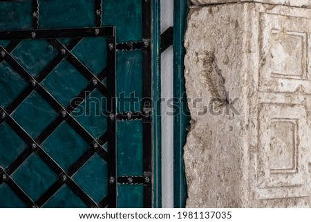 On the door jamb a trail of mezuzah in the center of the ancient city Zhovkva, Ukraine. Photo stock ©