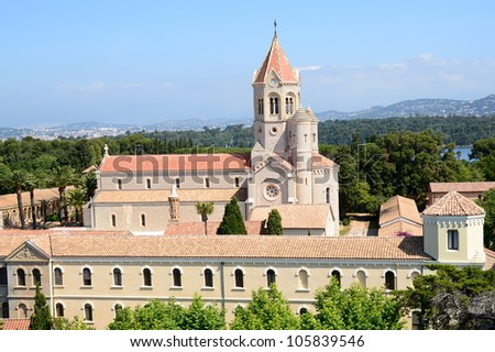 On the french riviera, the Saint Honorat island in the bay of Cannes, a peaceful place for the Lerins abbey monastery.